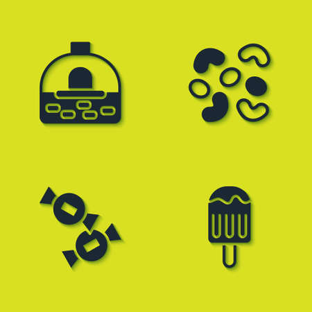 Set Brick stove, Ice cream, Candy and Jelly candy icon. Vector