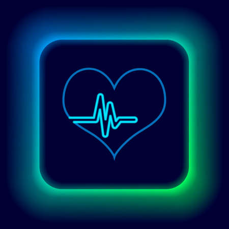 Glowing neon line Heart rate icon isolated on black background. Heartbeat sign. Heart pulse icon. Cardiogram icon. Colorful outline concept. Vector