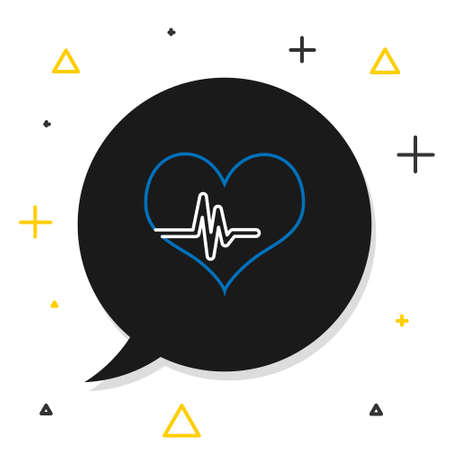 Line Heart rate icon isolated on white background. Heartbeat sign. Heart pulse icon. Cardiogram icon. Colorful outline concept. Vector Ilustracja