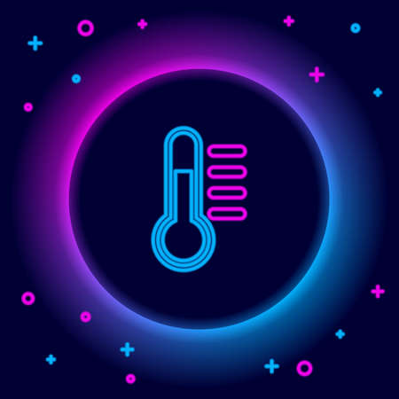 Glowing neon line Thermometer icon isolated on black background. Colorful outline concept. Vector