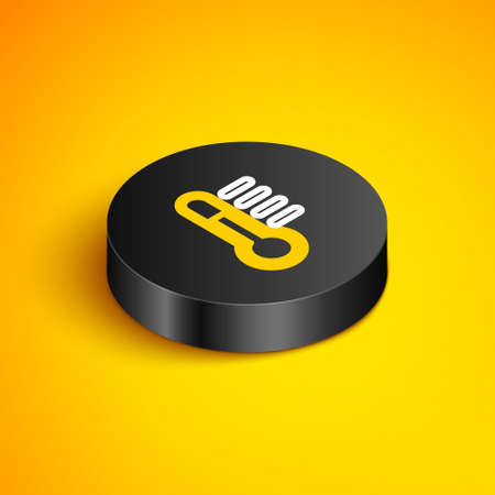 Isometric line Thermometer icon isolated on yellow background. Black circle button. Vector