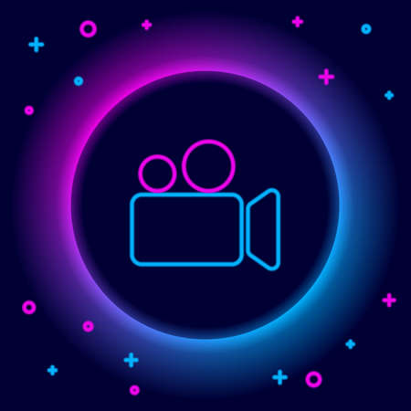 Glowing neon line Movie or Video camera icon isolated on black background. Cinema camera icon. Colorful outline concept. Vector 向量圖像