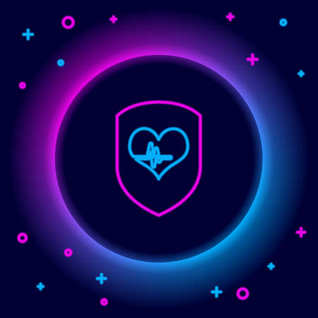 Glowing neon line Shield and heart rate icon isolated on black background. Health protection concept. Health care. Colorful outline concept. Vector Ilustracja