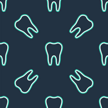 Line Tooth icon isolated seamless pattern on black background. Tooth symbol for dentistry clinic or dentist medical center and toothpaste package. Vector