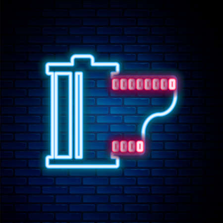 Glowing neon line Camera vintage film roll cartridge icon isolated on brick wall background. Film reel. 35mm film canister. Filmstrip photographer. Colorful outline concept. Vector