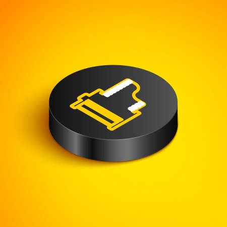 Isometric line Camera vintage film roll cartridge icon isolated on yellow background. Film reel. 35mm film canister. Filmstrip photographer. Black circle button. Vector