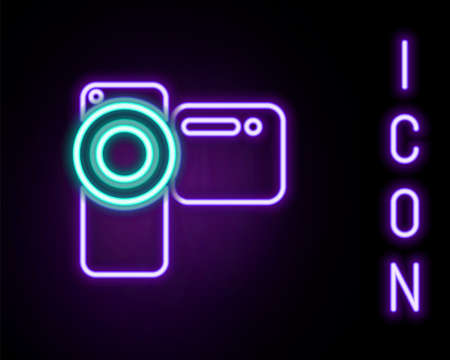 Glowing neon line Cinema camera icon isolated on black background. Video camera. Movie sign. Film projector. Colorful outline concept. Vector