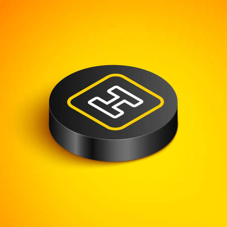 Isometric line Hospital sign icon isolated on yellow background. Black circle button. Vector