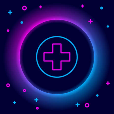 Glowing neon line Medical cross in circle icon isolated on black background. First aid medical symbol. Colorful outline concept. Vector