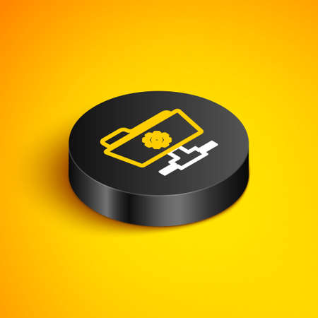 Isometric line FTP settings folder icon isolated on yellow background. Software update, transfer protocol, router, teamwork tool management, copy process. Black circle button. Vector