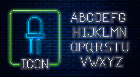 Glowing neon Light emitting diode icon isolated on brick wall background. Semiconductor diode electrical component. Neon light alphabet. Vector Ilustração