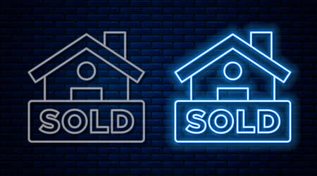 Glowing neon line Hanging sign with text Sold icon isolated on brick wall background. Sold sticker. Sold signboard. Vector