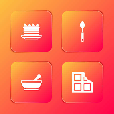 Set Cake, Spoon, Mortar and pestle and Chocolate bar icon. Vector
