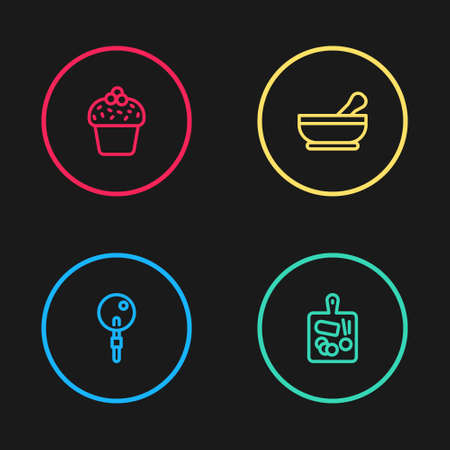 Set line Lollipop, Cutting board, Mortar and pestle and Cake icon. Vector