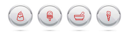 Set line Pudding custard, Ice cream, Mortar and pestle and waffle cone. Silver circle button. Vector Ilustracja