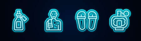 Set line Essential oil bottle, Man in the sauna, Flip flops and Aftershave. Glowing neon icon. Vector