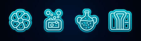 Set line Flower, Bar of soap, Essential oil bottle and Bathrobe. Glowing neon icon. Vector Ilustracja