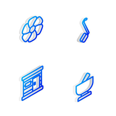 Set Isometric line Sauna ladle, Flower, wooden bathhouse and Mortar and pestle icon. Vector