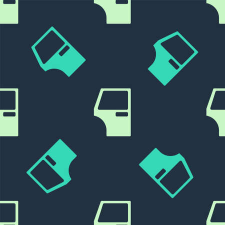Green and beige Car door icon isolated seamless pattern on blue background. Vector