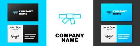Blue line Black karate belt icon isolated on white background. Logo design template element. Vector Logo
