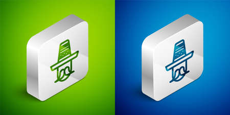 Isometric line Mexican man wearing sombrero icon isolated on green and blue background. Hispanic man with a mustache. Silver square button. Vector