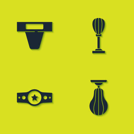 Set Groin guard, Punching bag, and Boxing belt icon. Vector