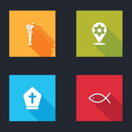Set Aspergillum, Star of David, Pope hat and Christian fish icon. Vector Vectores