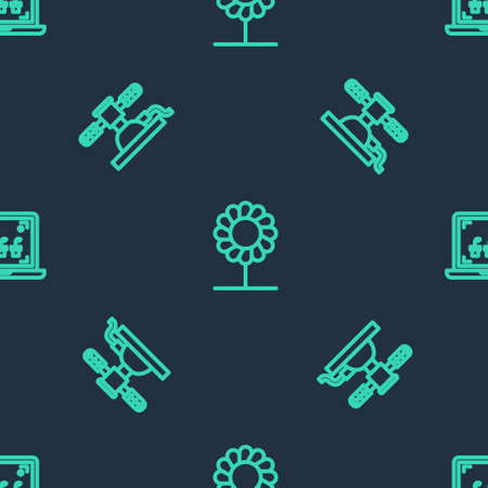 Set line Flower, Automatic irrigation sprinklers and Smart farming technology on seamless pattern. Vector Ilustração