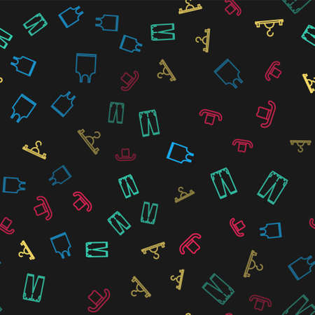 Set line Sleeveless T-shirt, Pants, Hanger wardrobe and Man hat on seamless pattern. Vector Illusztráció