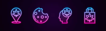 Set line Location and marijuana, Cookies, Head or cannabis and Shopping paper bag of. Glowing neon icon. Vector