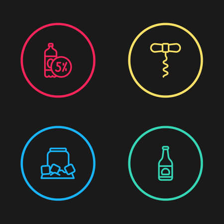 Set line Cold beer can, Beer bottle, Wine corkscrew and icon. Vector