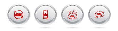 Set line Refund money, Flight mode in the mobile, Methane emissions reduction and CO2 cloud. Silver circle button. Vector