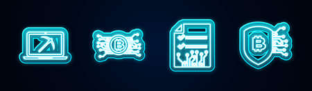 Set line Mining with laptop and pickaxe, Cryptocurrency bitcoin circuit, Smart contract and Shield. Glowing neon icon. Vector Stock Illustratie