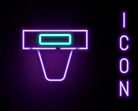 Glowing neon line Groin guard for martial arts icon isolated on black background. Colorful outline concept. Vector