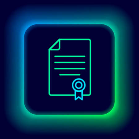 Glowing neon line House contract icon isolated on black background. Contract creation service, document formation, application form composition. Colorful outline concept. Vector Stock Illustratie