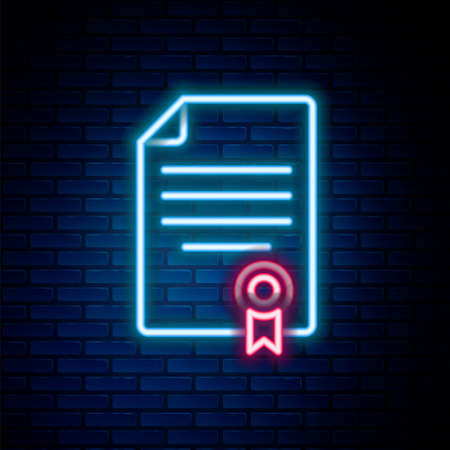 Glowing neon line House contract icon isolated on brick wall background. Contract creation service, document formation, application form composition. Colorful outline concept. Vector Stock Illustratie