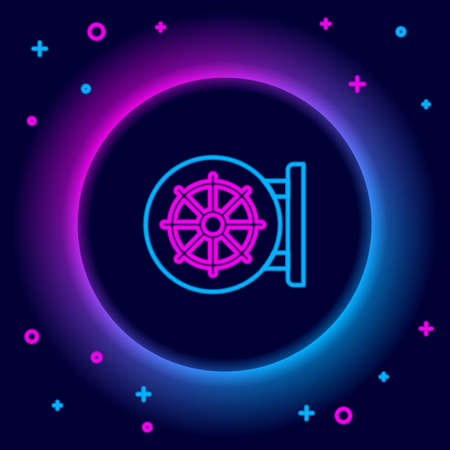 Glowing neon line Dharma wheel icon isolated on black background. Buddhism religion sign. Dharmachakra symbol. Colorful outline concept. Vector