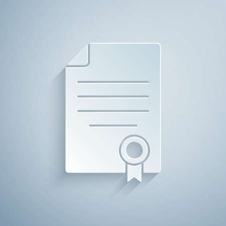 Paper cut House contract icon isolated on grey background. Contract creation service, document formation, application form composition. Paper art style. Vector Stock Illustratie
