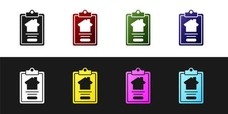 Set House contract icon isolated on black and white background. Contract creation service, document formation, application form composition. Vector Stock Illustratie