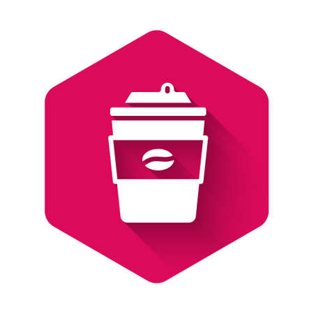 White Coffee cup to go icon isolated with long shadow background. Pink hexagon button. Vector