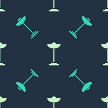 Green and beige Floor lamp icon isolated seamless pattern on blue background. Vector