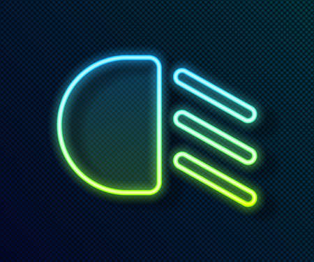Glowing neon line High beam icon isolated on black background. Car headlight. Vector