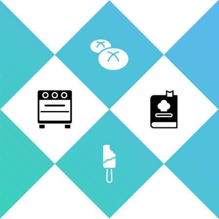 Set Oven, Ice cream, Bread loaf and Cookbook icon. Vector