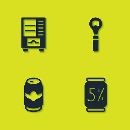 Set Vending machine, Beer can, and Bottle opener icon. Vector