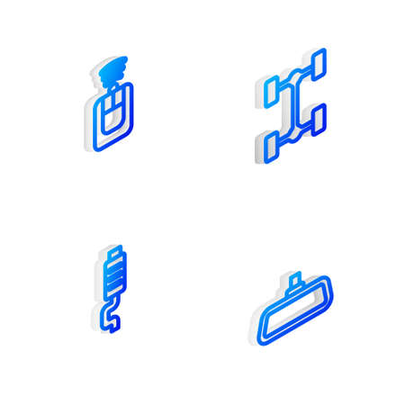 Set Isometric line Chassis car, Car key with remote, muffler and mirror icon. Vector