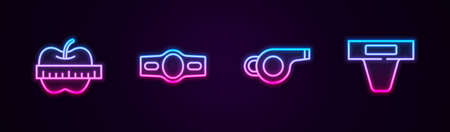 Set line Apple and measuring tape, Boxing belt, Whistle and Groin guard. Glowing neon icon. Vector