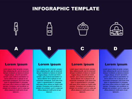 Set line Ice cream, Bottle with milk, Cake and Brick stove. Business infographic template. Vector