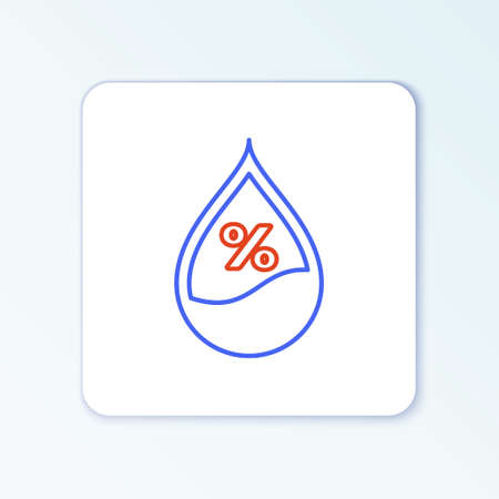 Line Water drop percentage icon isolated on white background. Humidity analysis. Colorful outline concept. Vector