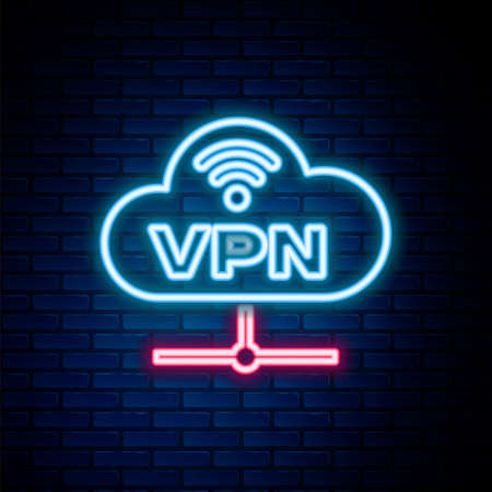 Glowing neon line VPN Network cloud connection icon isolated on brick wall background. Social technology. Cloud computing concept. Colorful outline concept. Vector