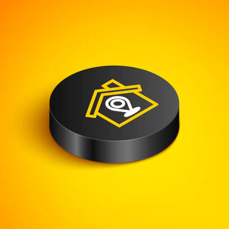 Isometric line Map pointer with house icon isolated on yellow background. Home location marker symbol. Black circle button. Vector